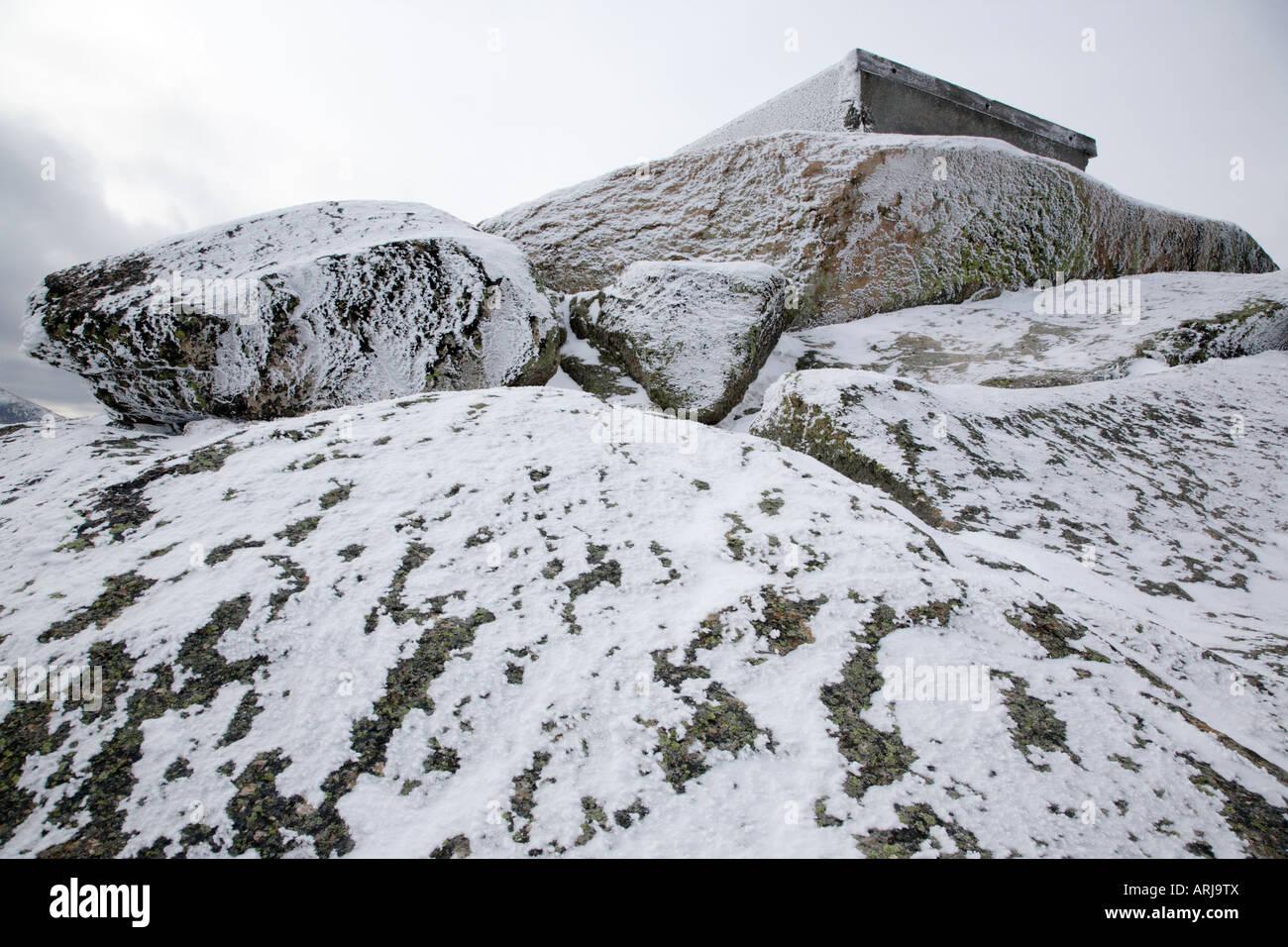 Appalachian Trail - der Gipfel des Mount Garfield in den Wintermonaten befindet sich in den White Mountains New Stockbild