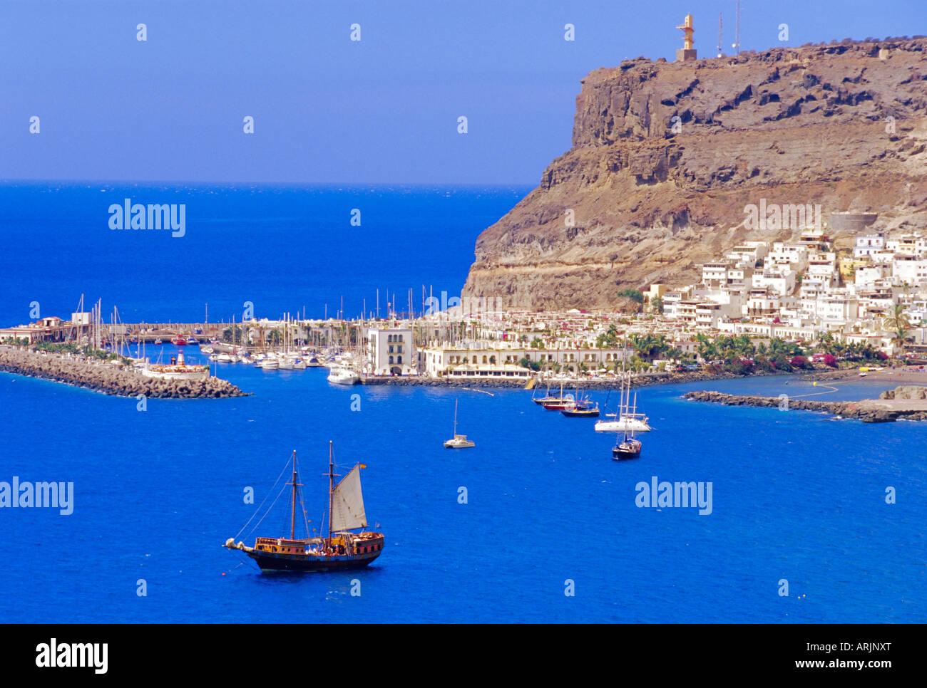 Luftaufnahme von Puerto de Mogan, Gran Canaria, Kanarische Inseln, Spanien Stockbild