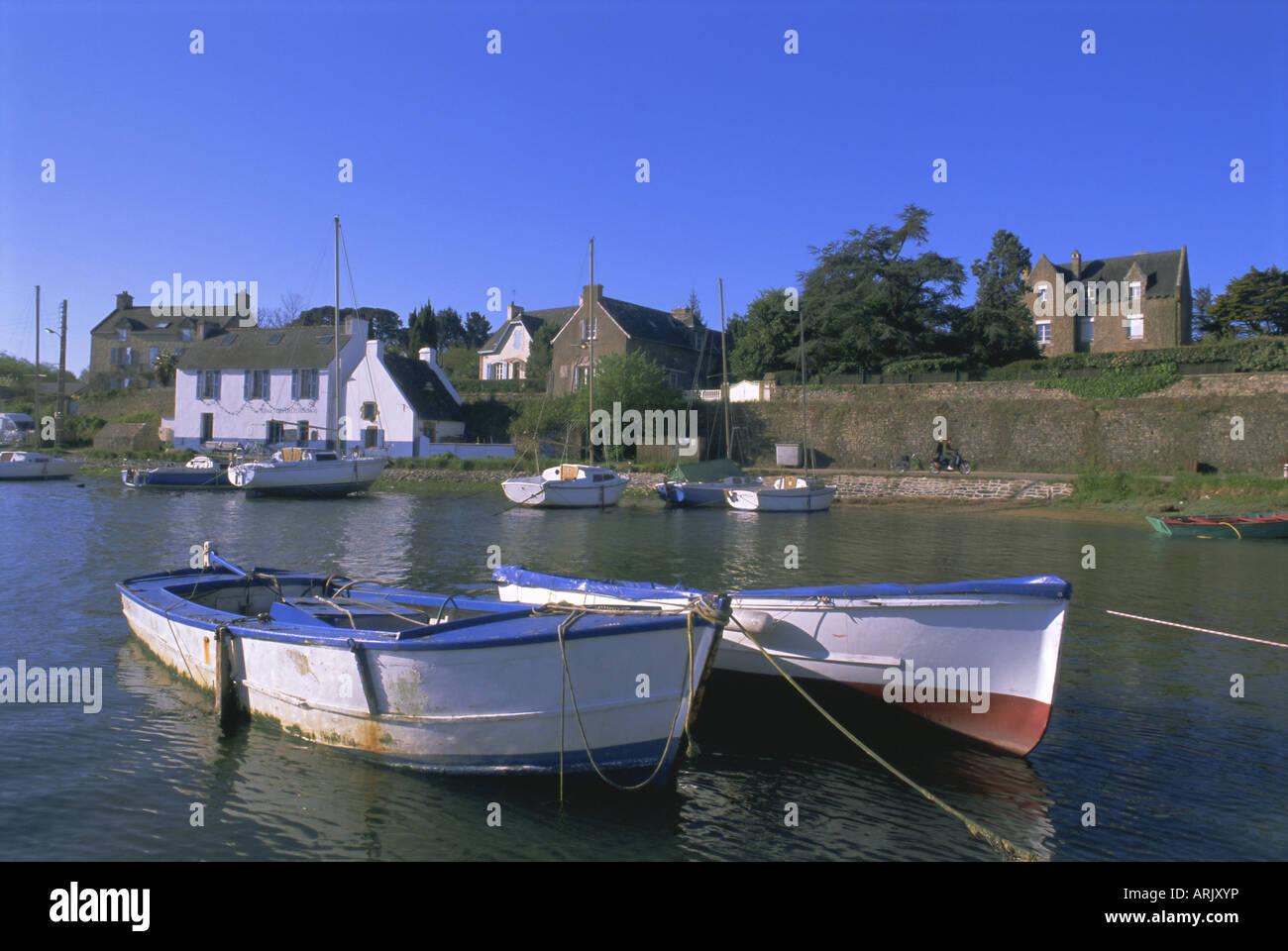 Hafen von Lerio, Ile-Aux-Moines, Golfe du Morbihan (Golf von Morbihan), Breton Inseln, Morbihan, Bretagne, Frankreich, Stockbild
