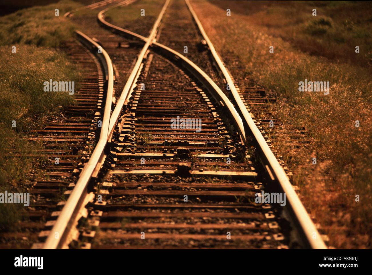 Train Tracks Konvergenz, Britisch-Kolumbien, Kanada. Stockbild