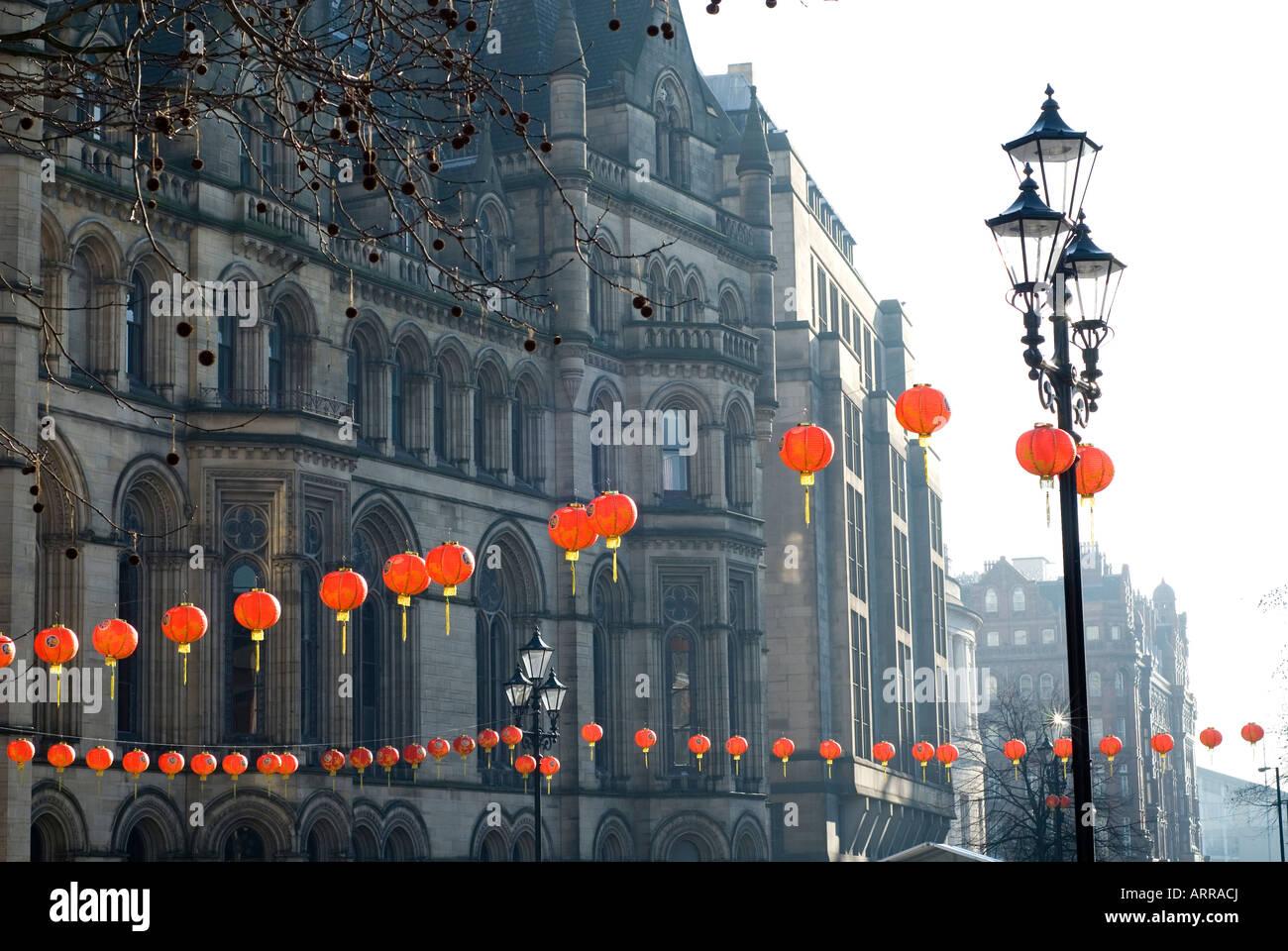 chinesische rote laternen dekorationen f r das chinesische neujahrsfest in albert square. Black Bedroom Furniture Sets. Home Design Ideas