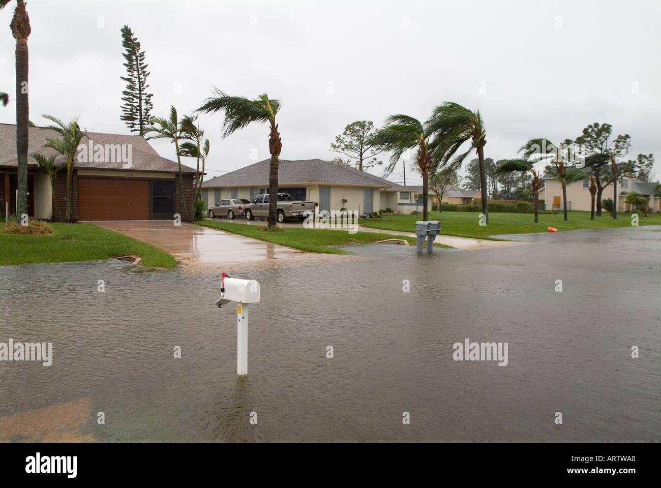 Hurrikan Wilma South Florida Sturm Port5 Saint Lucie Hurrikane Straße Hochwasser 10 24 05 Stockbild