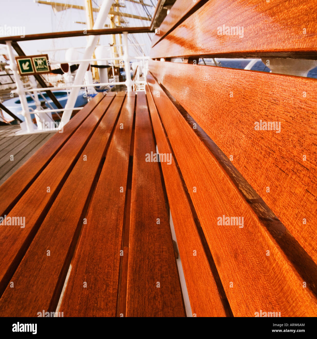 Bank auf einem Segelschiff Stockbild