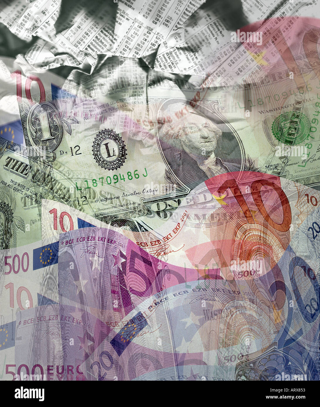 FINANZKONZEPT: Internationale Währung Stockbild