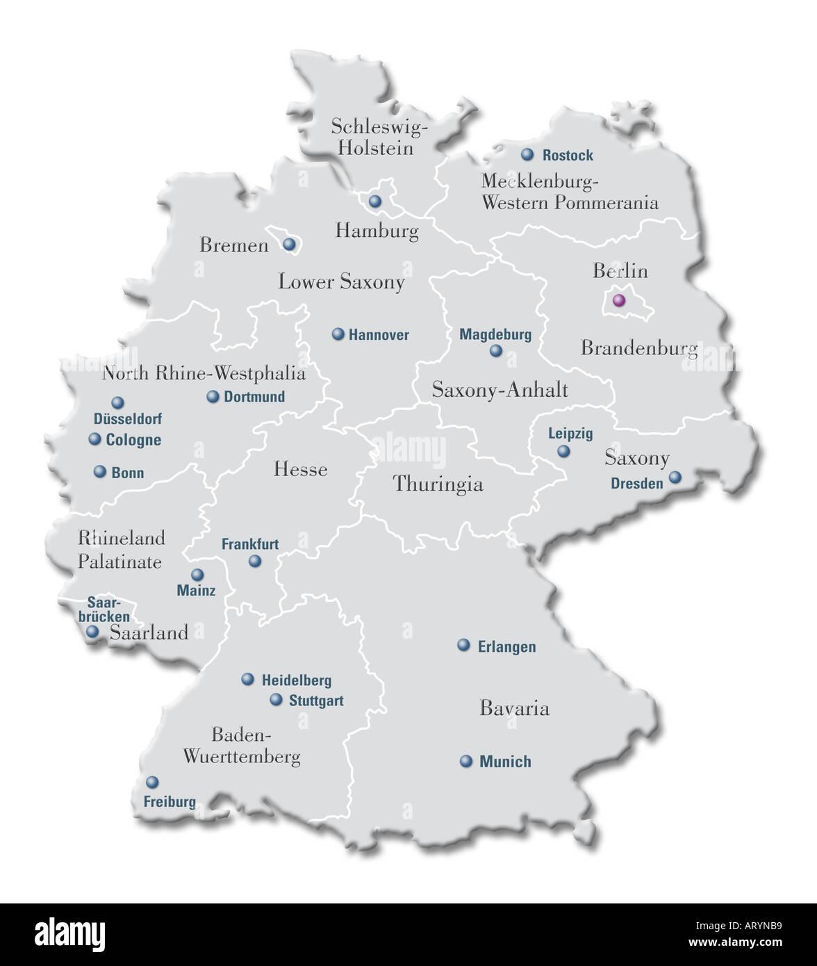 Erlangen Karte Deutschland.Deutschland Karte Computer Illustration Isoliert Auf Weiss