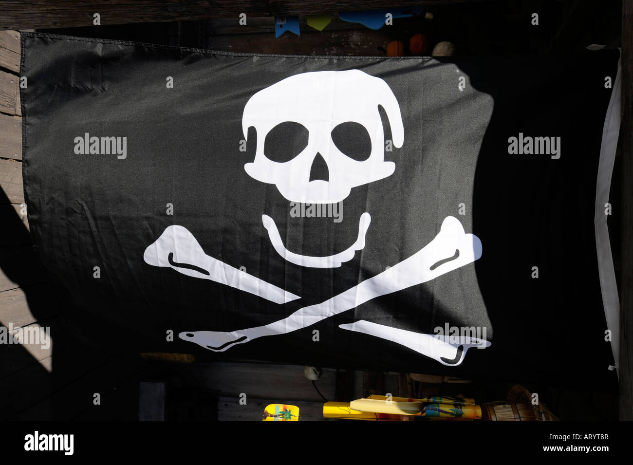 Skull & Bones Flagge in Key West Florida Stockbild