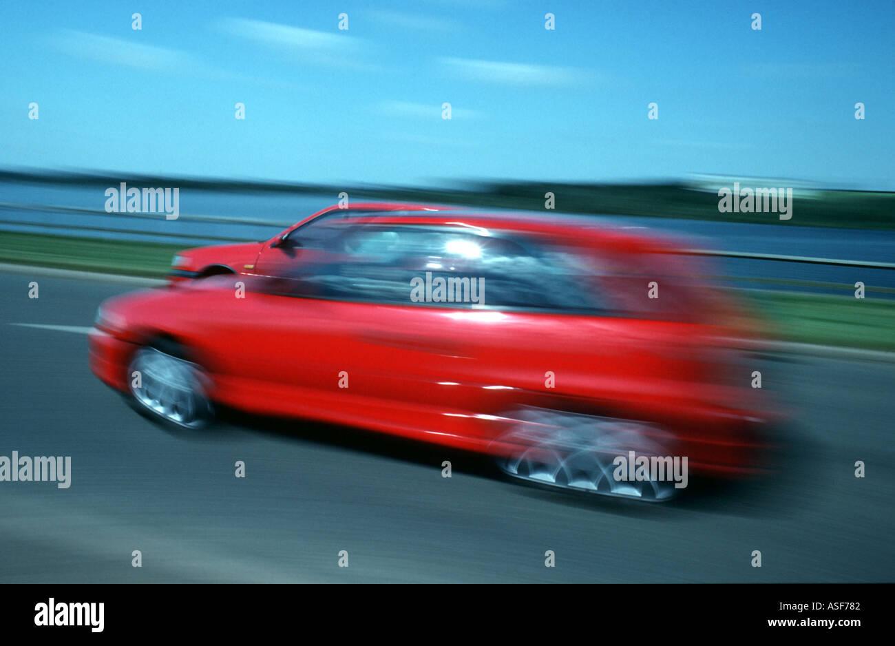 Red Cars racing Stockbild