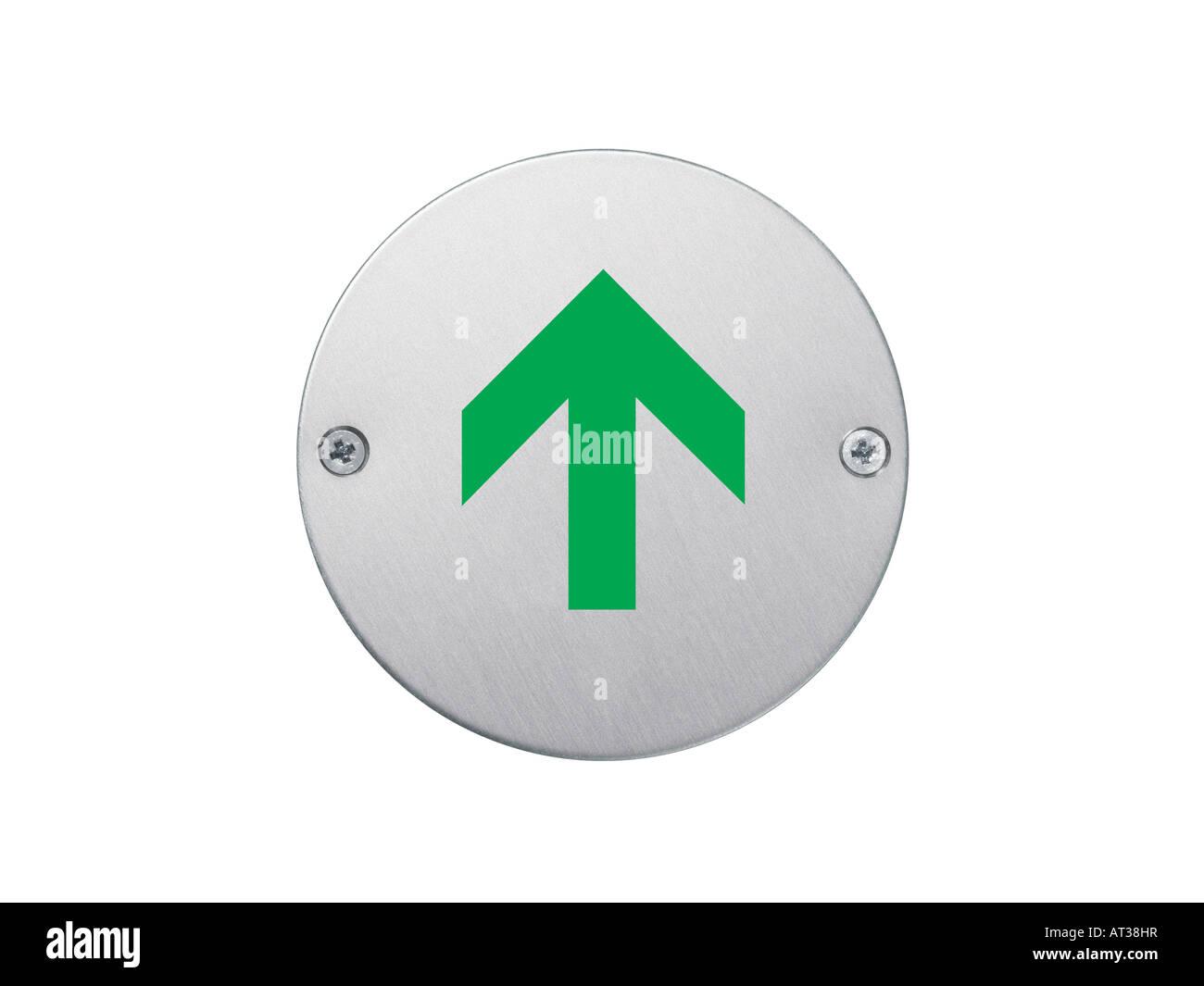 Melden Sie ein grüner Pfeil nach oben Stockbild
