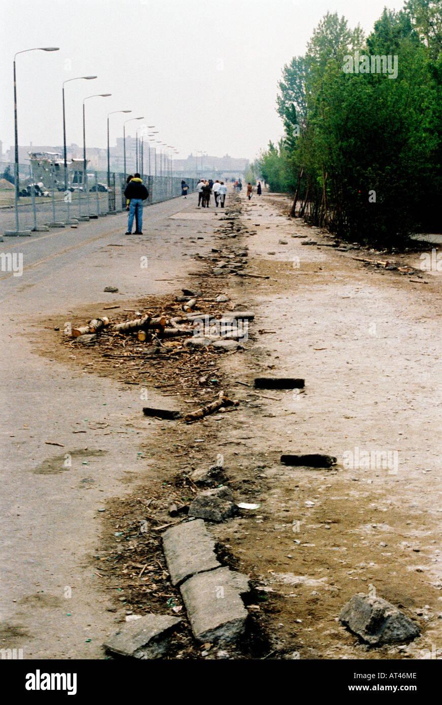 Der Fall der Berliner Mauer 1989. Die Reste der Berliner Mauer Geschichte Archiv historische Stockbild