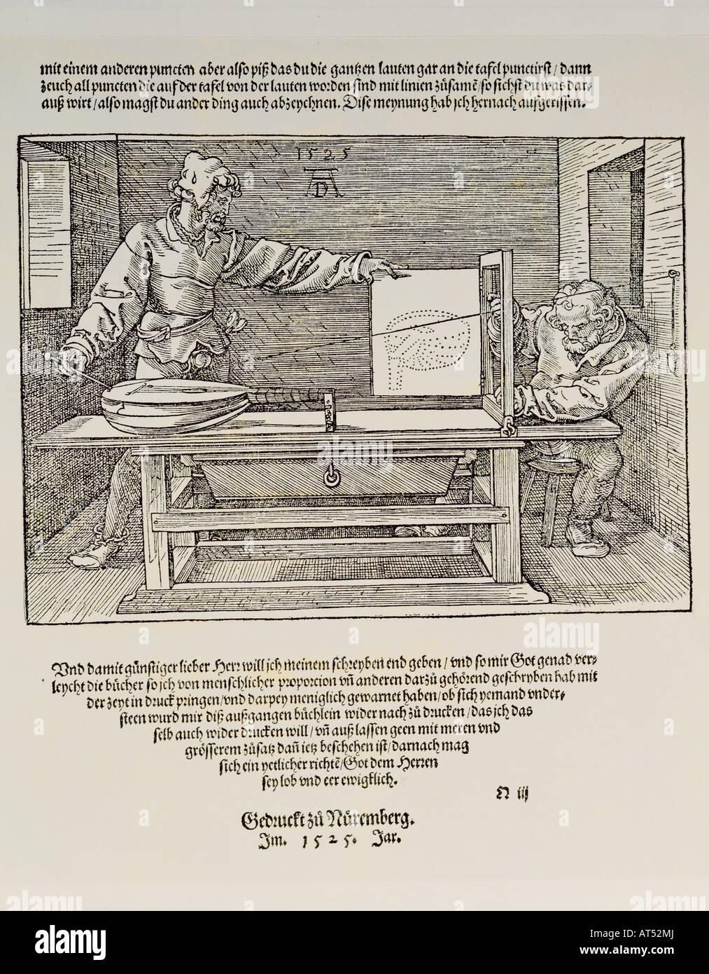 """""""Bildende Kunst, Dürer, Albrecht (1471-1528), Holzschnitt,""""Der Zeichner der Laute""""(Zeichnung Stockbild"""
