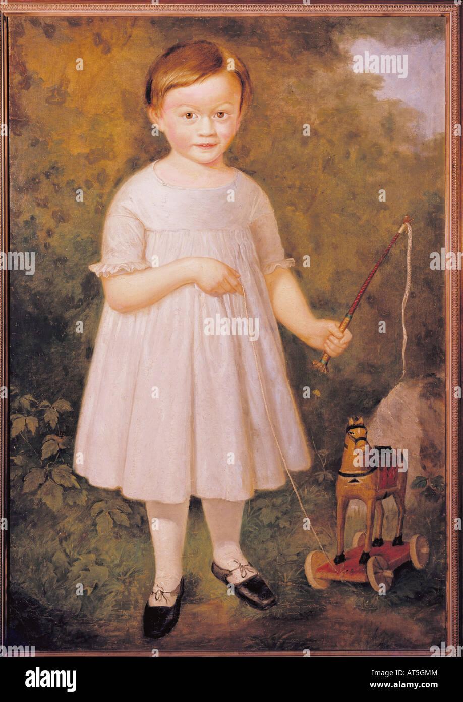Bildende Kunst, Romantik, Kind mit einem hölzernen Pferd, unbekannter Künstler, Malerei, ca. 1820 - 1830, Stockbild