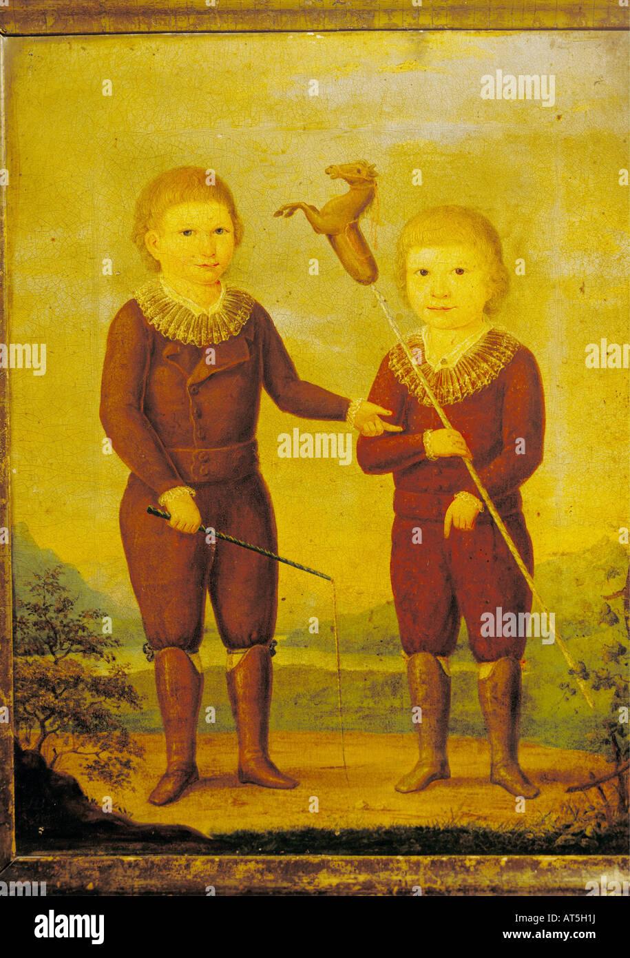 Bildende Kunst, Romantik, zwei Kinder der Kindt Familie aus Pulsnitz in Sachsen, unbekannter Künstler, Malerei, Stockbild