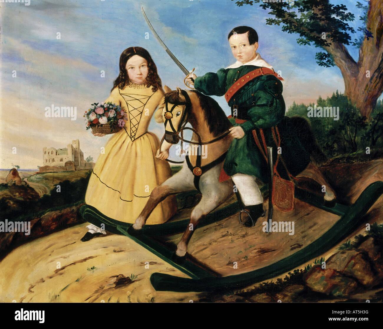 """Bildende Kunst, Romantik, """"Die Kinder des Malers mit einem Schaukelpferd"""", Gemälde von Ludwig Wuest, Stockbild"""