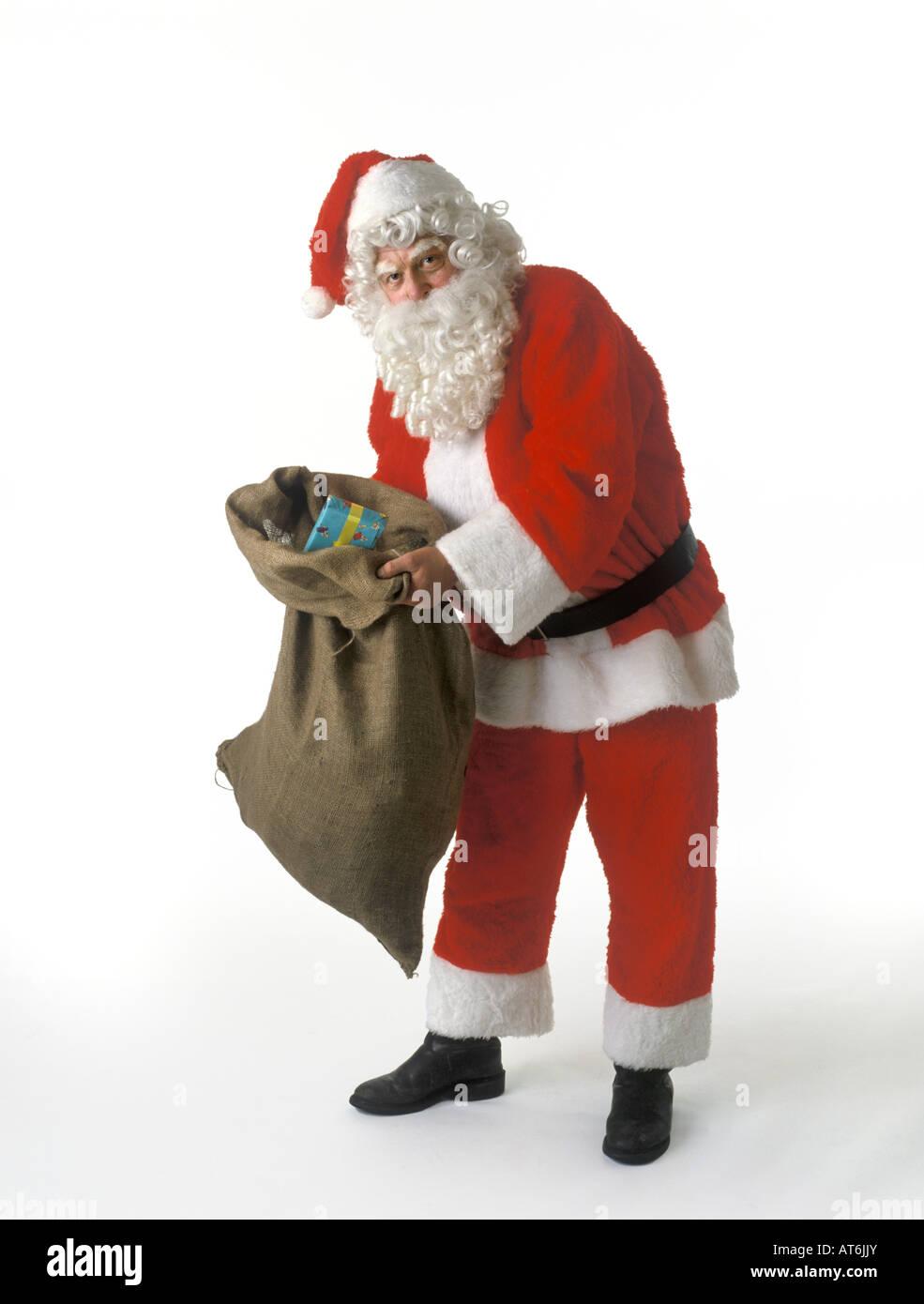 Weihnachtsmann einen Sack voller Geschenke Stockbild