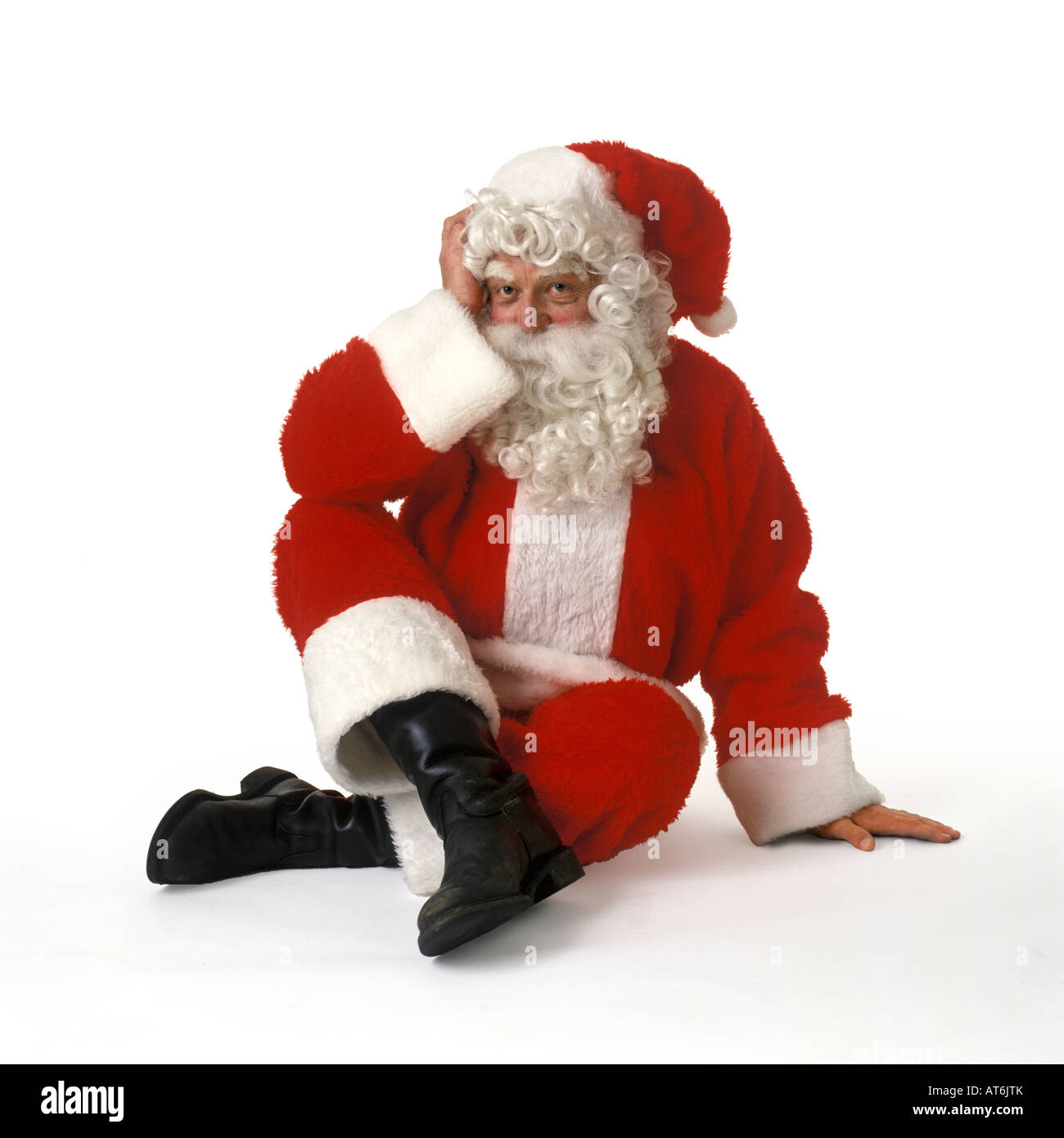 Weihnachtsmann auf weißem Hintergrund Stockbild