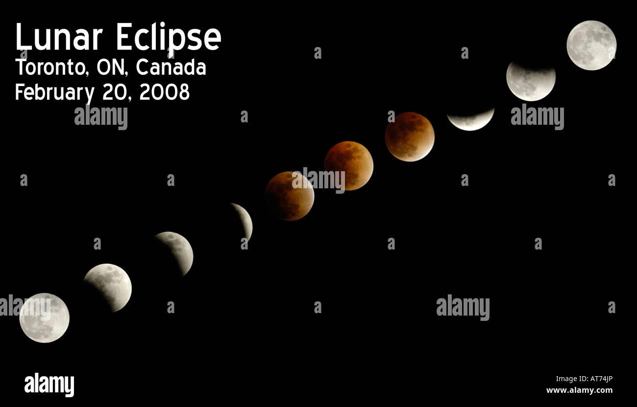 Mondfinsternis-Sequenz Stockbild