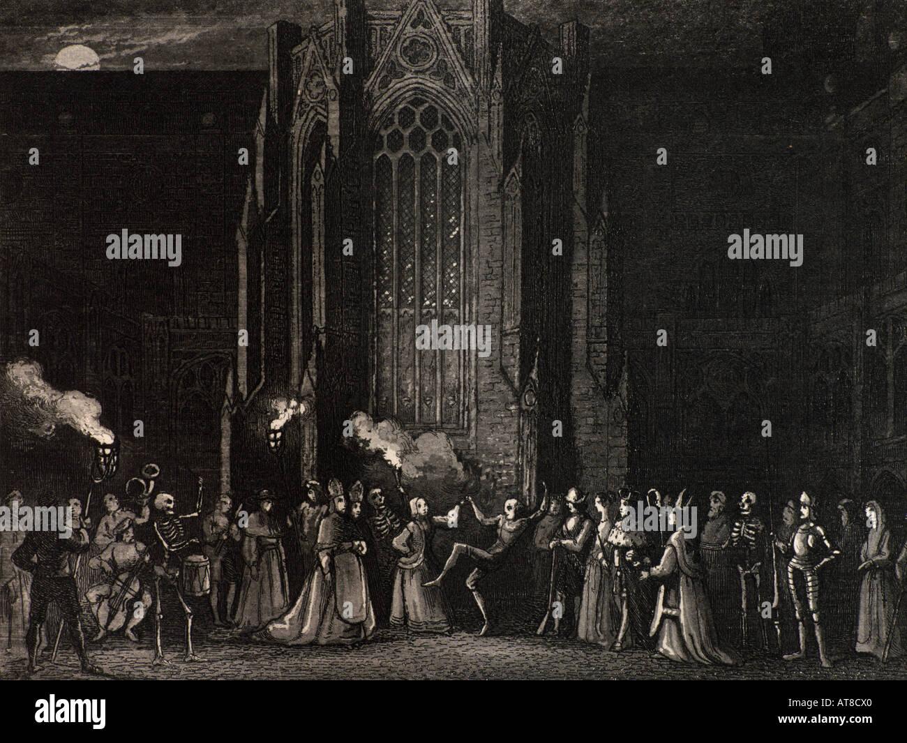 Holzschnitt Tanz des Todes Pest London England 1347-1350