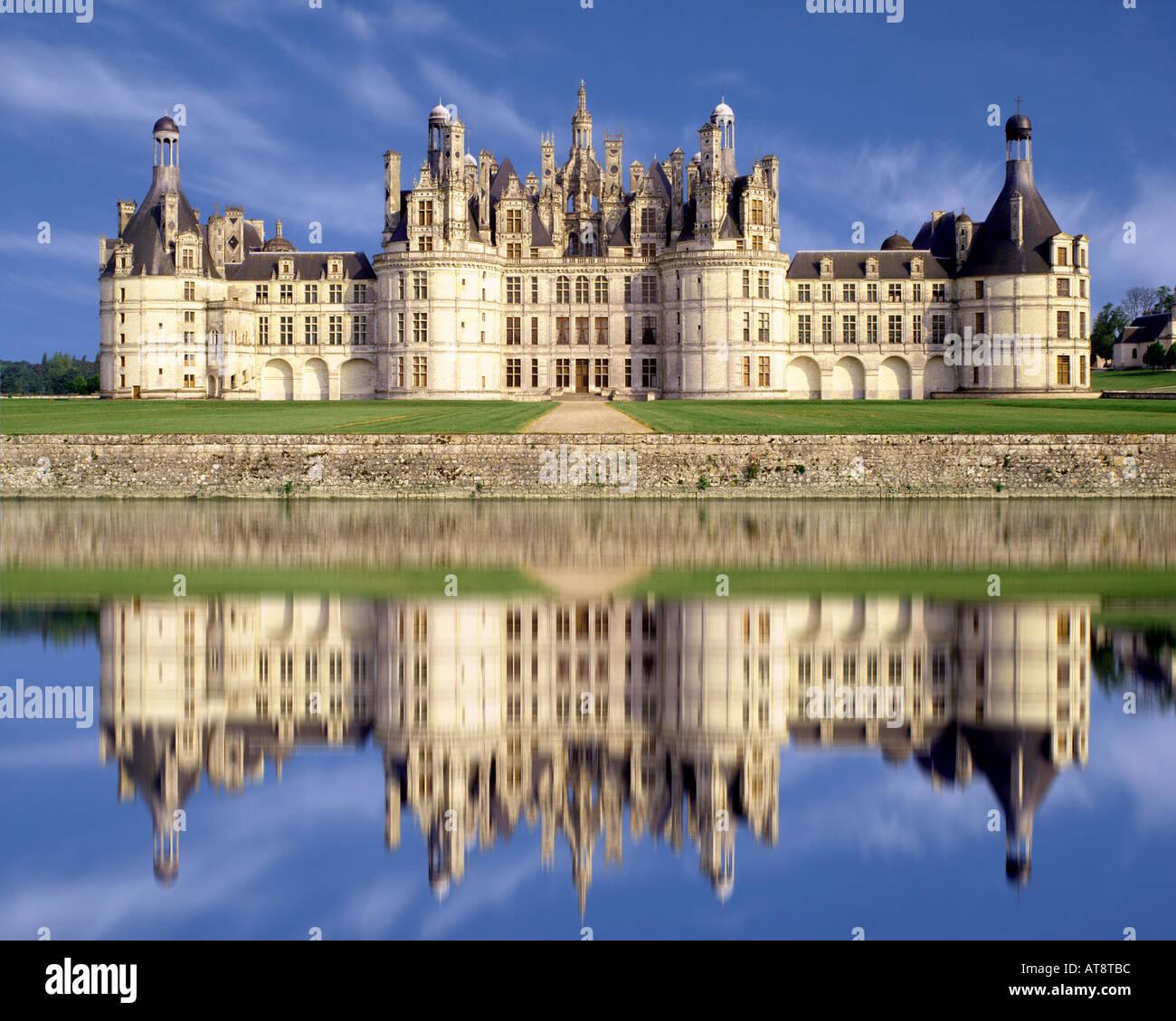 FR-Loire Tal: Chateau de Chambord Stockbild