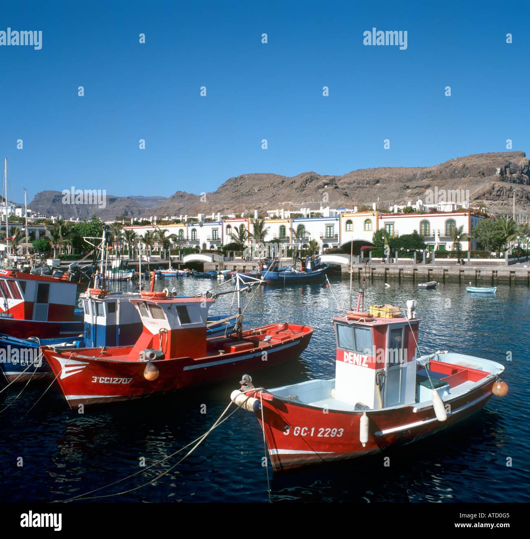 Boote im Hafen von Puerto Mogan, Gran Canaria, Kanarische Inseln, Spanien Stockbild