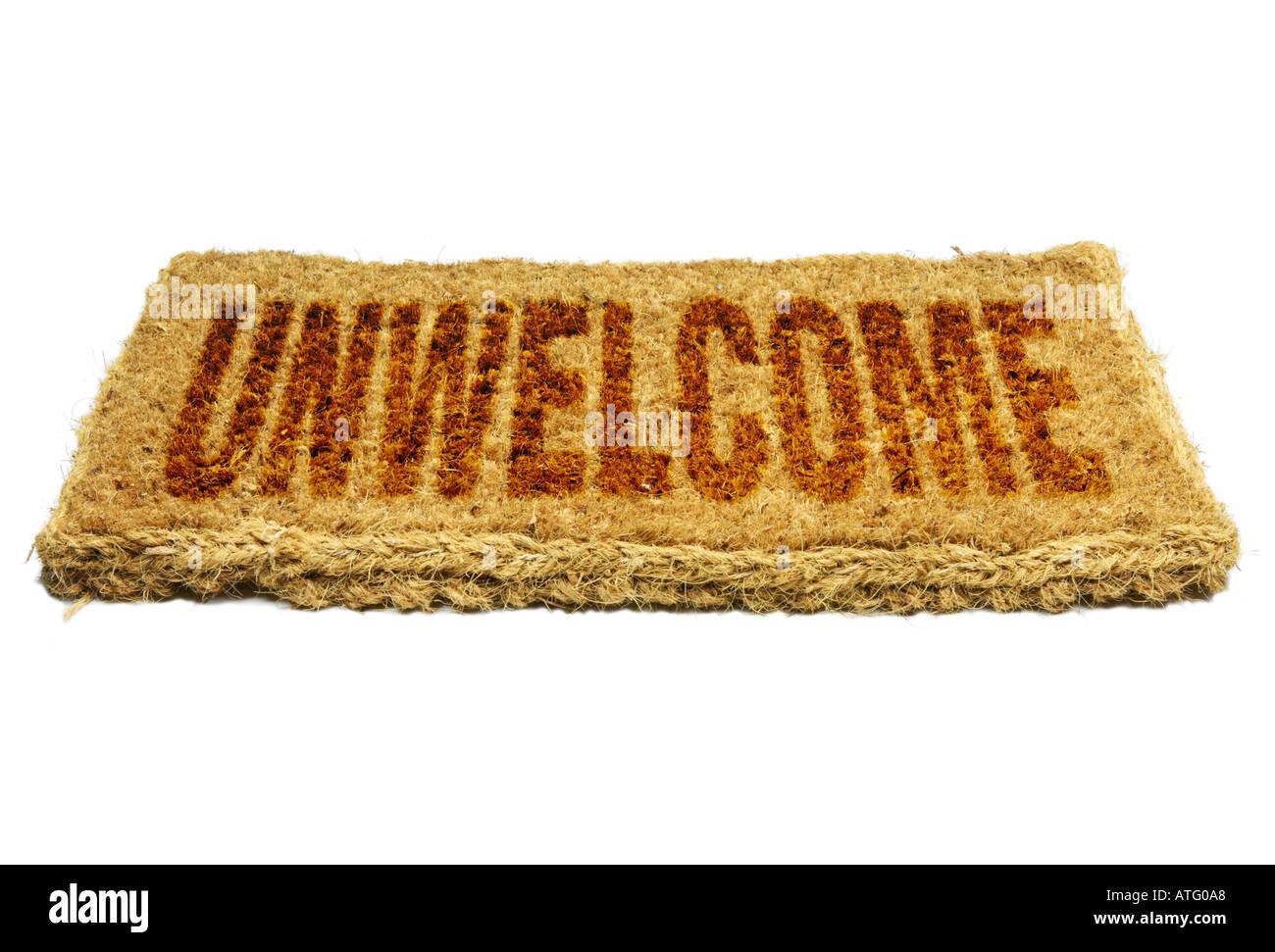 Kokosfasern willkommene Matte unwillkommene Konzept Stockbild