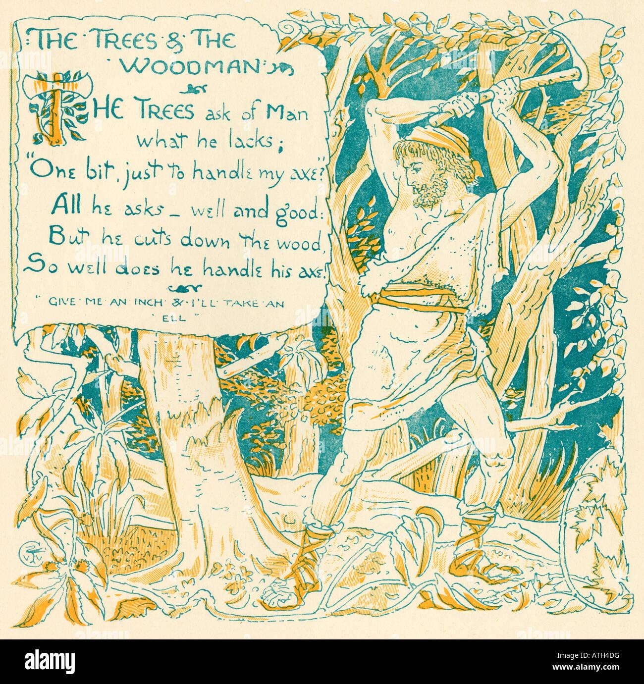 Die Bäume und The Woodman aus dem Buch The Babys eigene Aesop von Walter Crane veröffentlicht c1920 Stockbild