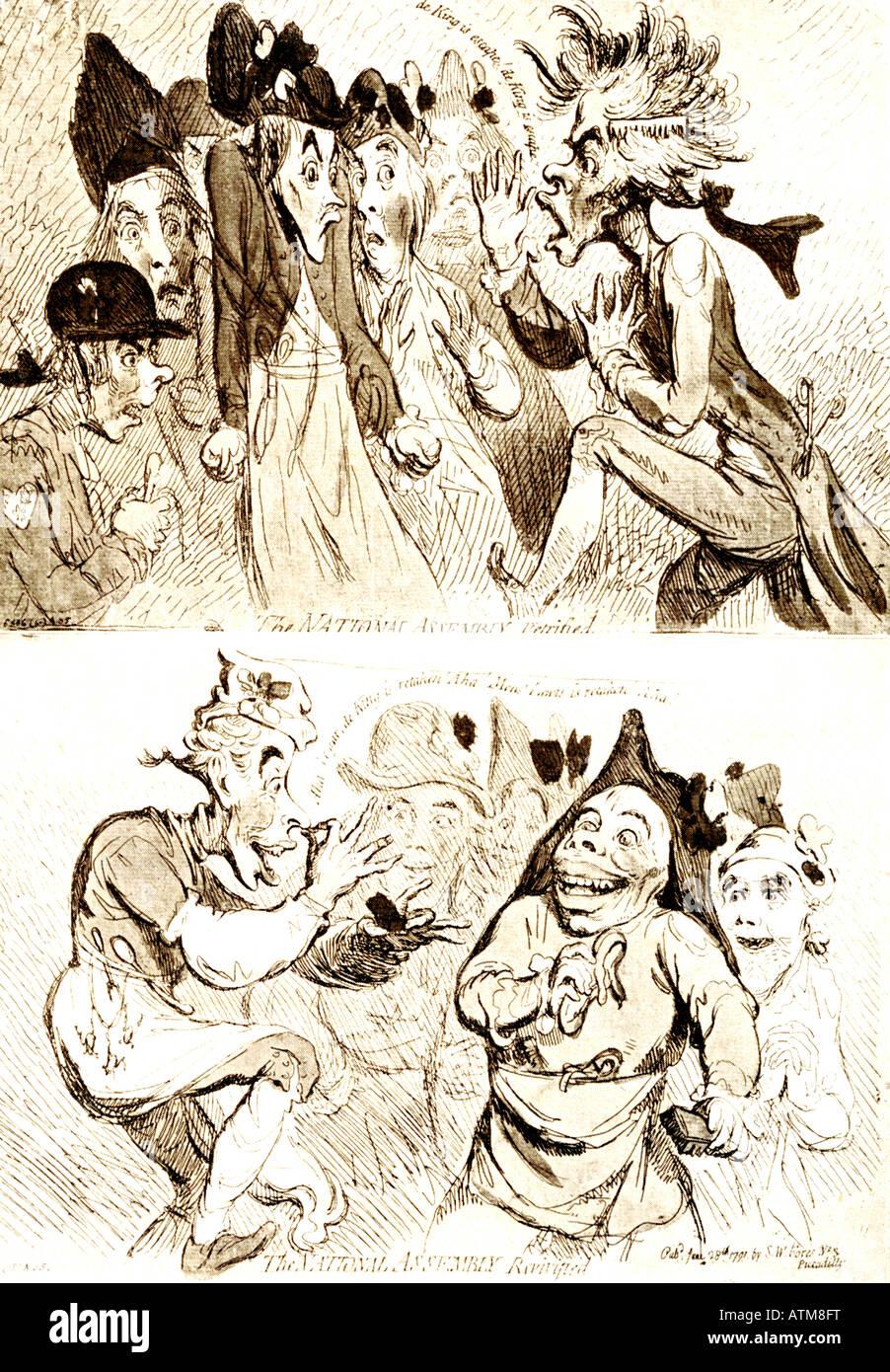 Karikaturen von der französischen Nationalversammlung Stockbild