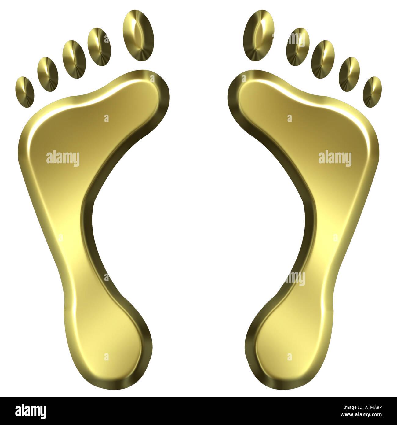3D Golden Fussspuren Stockbild