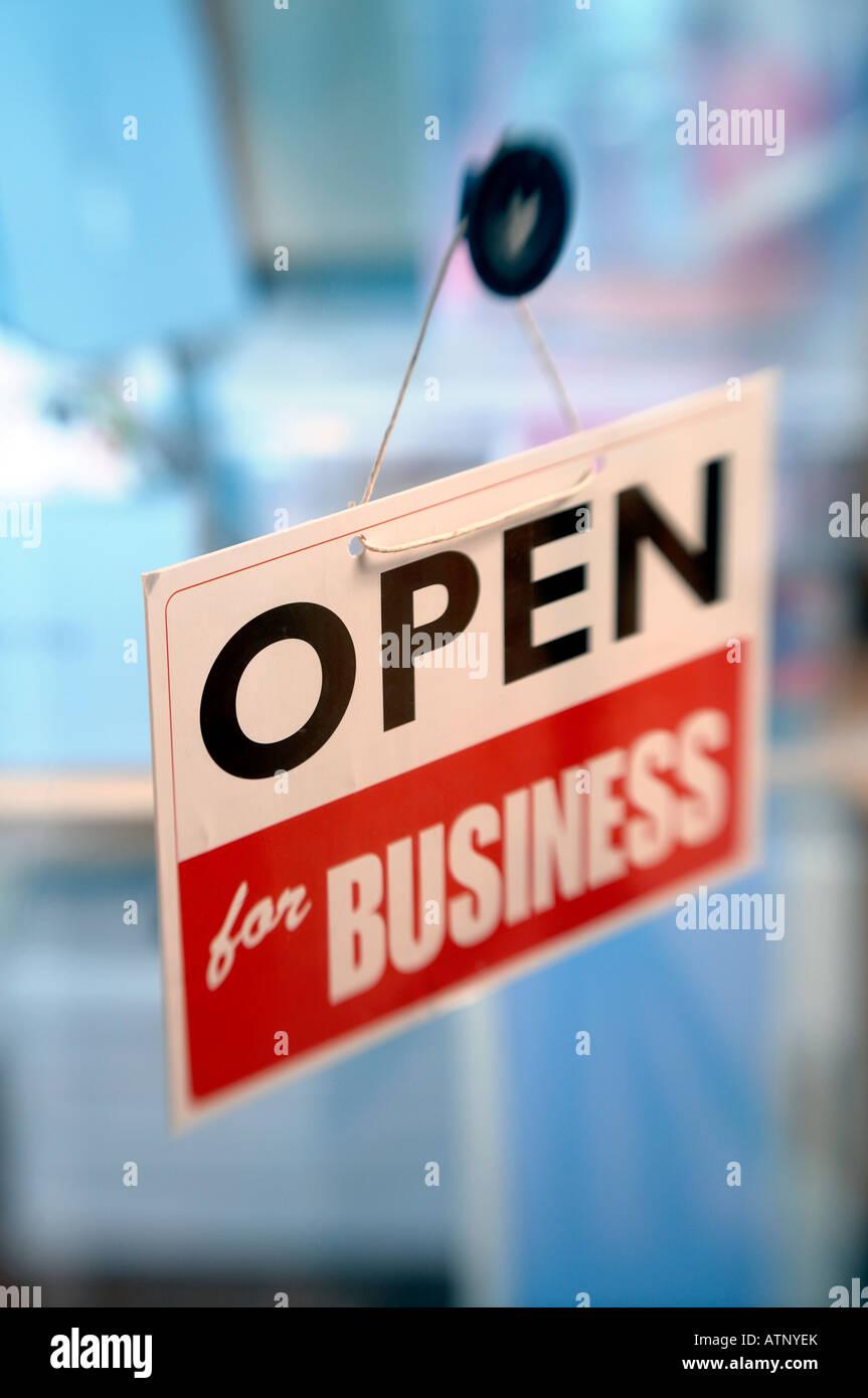 Geöffnet für Geschäft Zeichen Stockbild