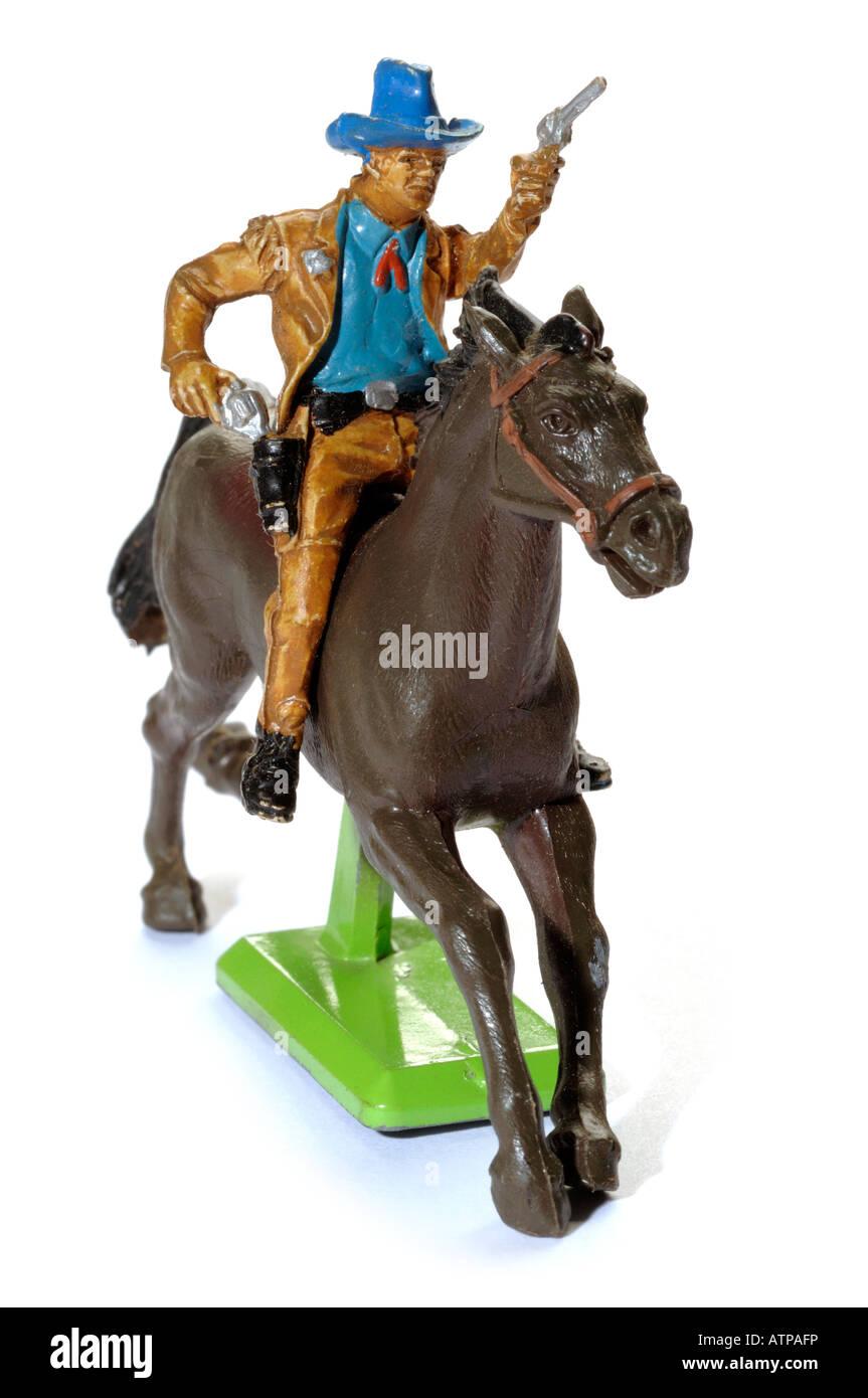 Retro-Pferd und Cowboy Plastikspielzeug Stockbild