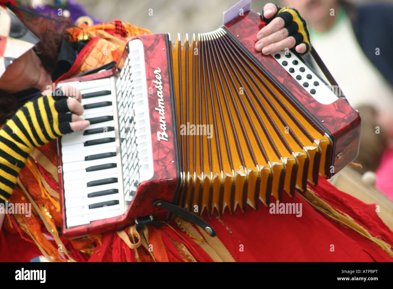 fegt Festival Morris Akkordeon Spieler Musiker Stockbild