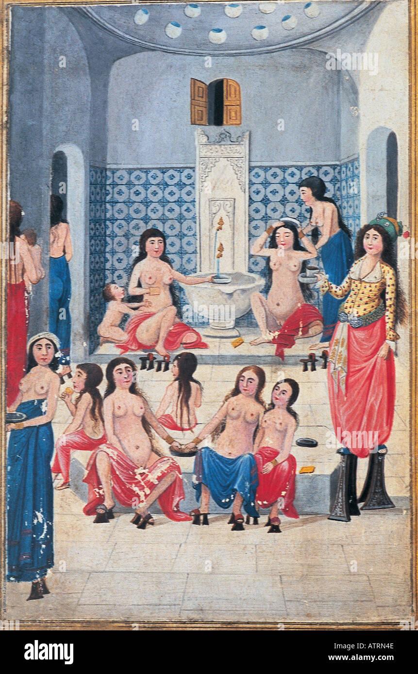 Konkubinen in der Badewanne-Miniatur von Fazil Enderuni 18 Jahrhundert, Harem-Topkapi-Palast Stockbild