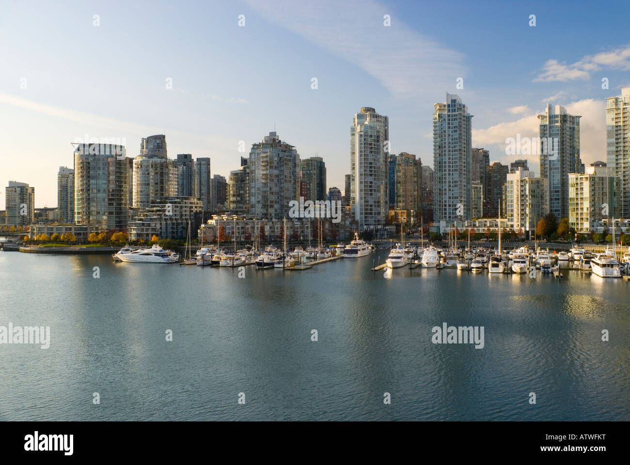 Yaletown Skyline bei False Creek Vancouver British Columbia Kanada 2007 Stockbild