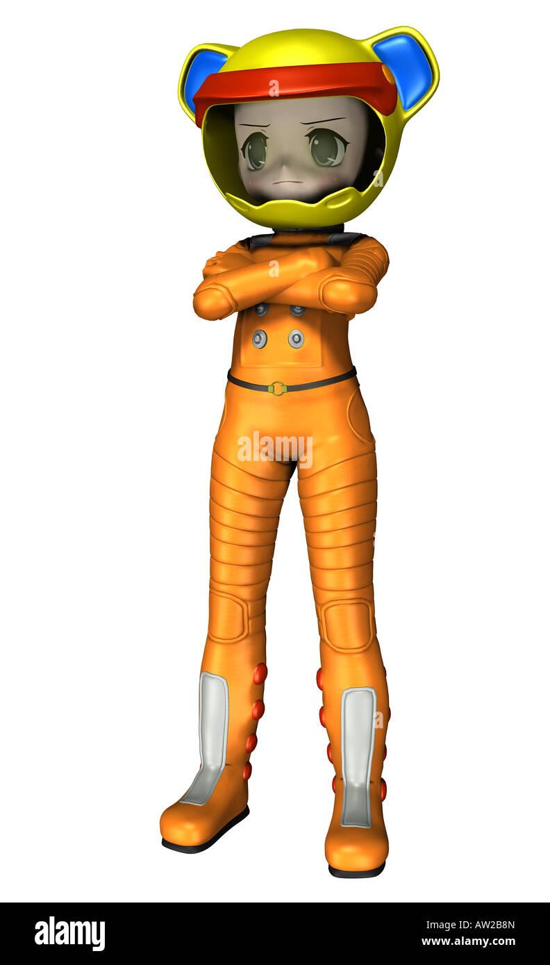 Spacegirl spaceman Stockbild