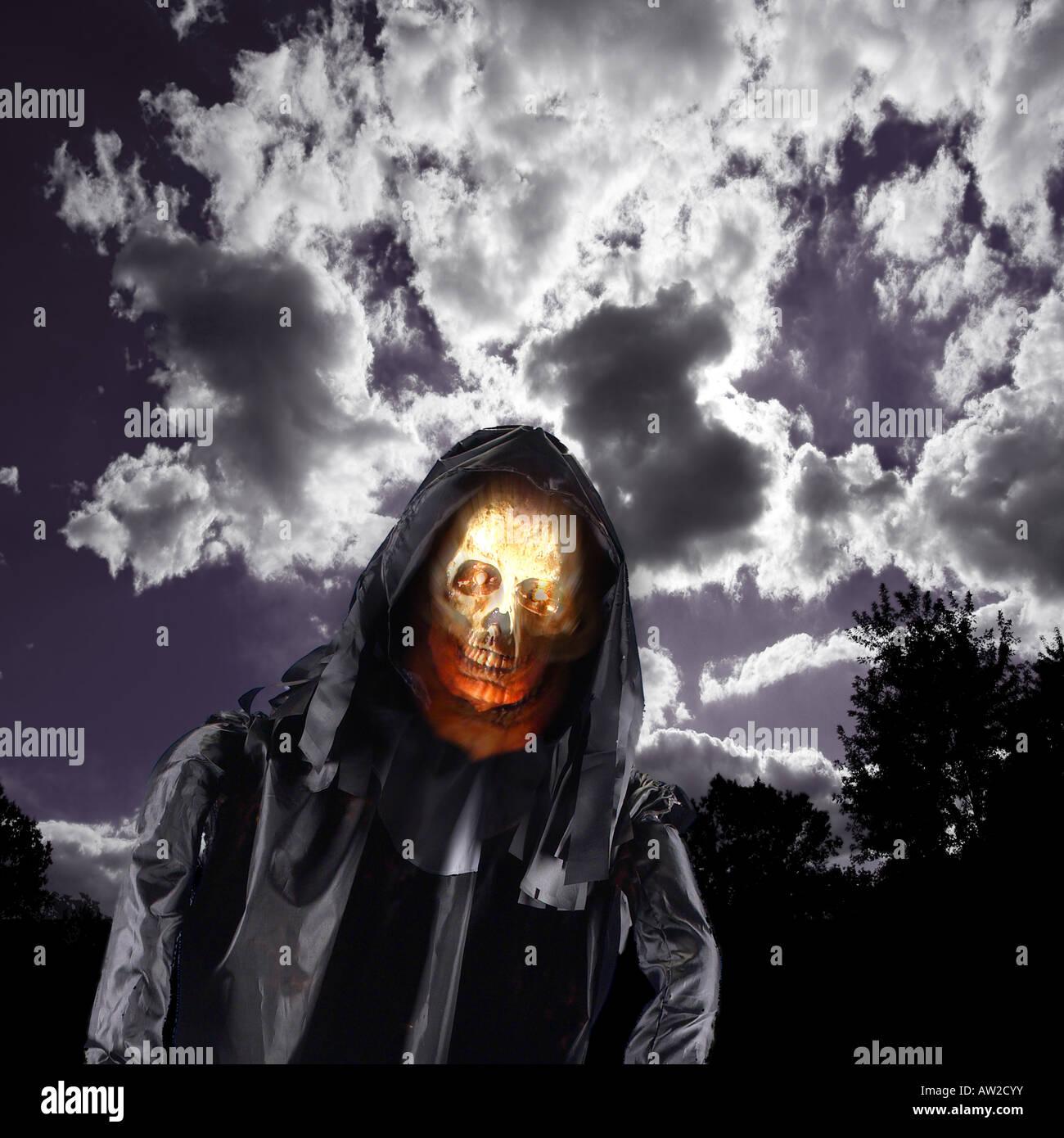 Böse Schädel Dämon Geist der Halloween-Nacht Stockbild