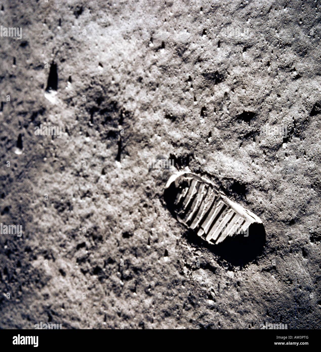 Fußabdruck auf dem Mond Stockbild