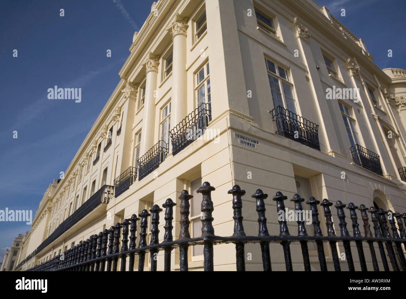 Regency Architektur Ecke von Brunswick Square und Brunswick Terrasse Hove Brighton Sussex England Stockfoto