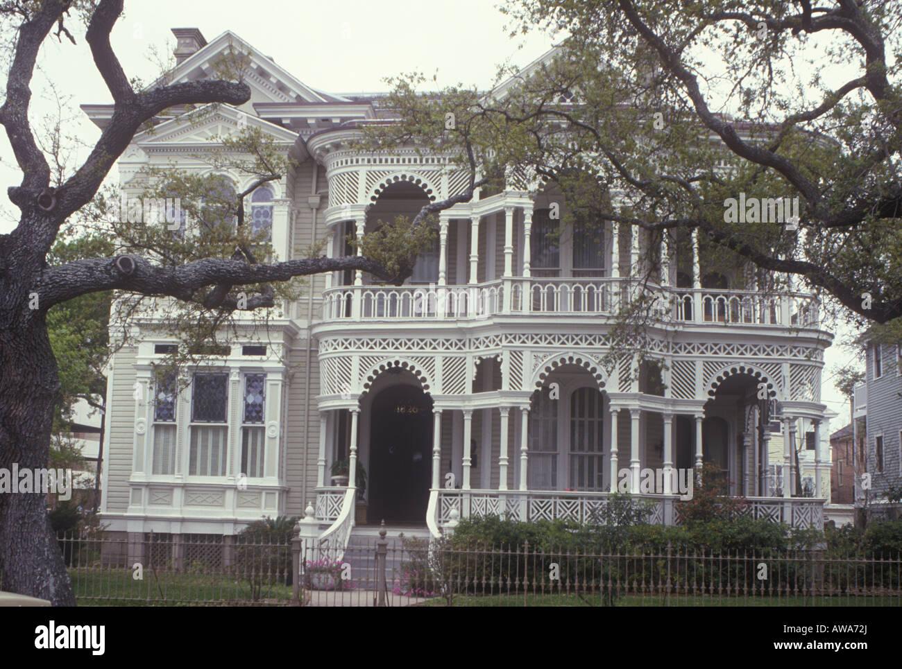 Amerikanische viktorianisches Herrenhaus in Galveston, Texas ...