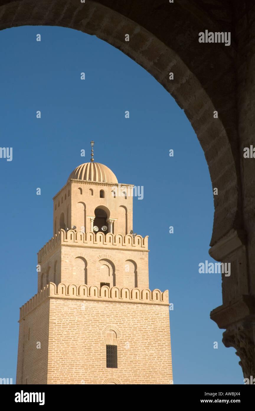 Minarett der großen Moschee in Kairouan, vierte heiligste Kultstätte des Islam, Tunesien. Stockbild