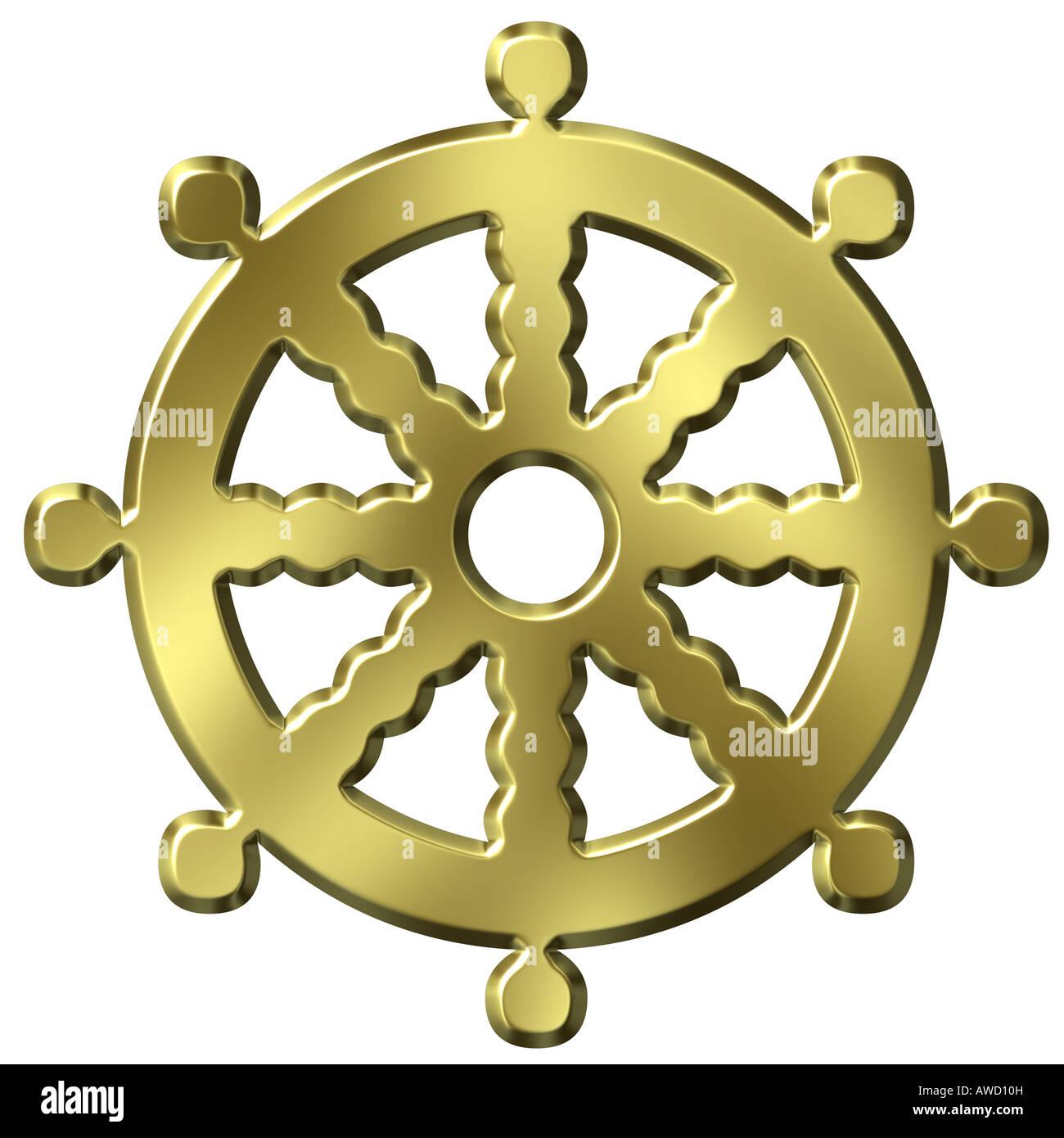3d Golden Buddhismus Symbol Rad Des Lebens Stockfoto Bild 16542736
