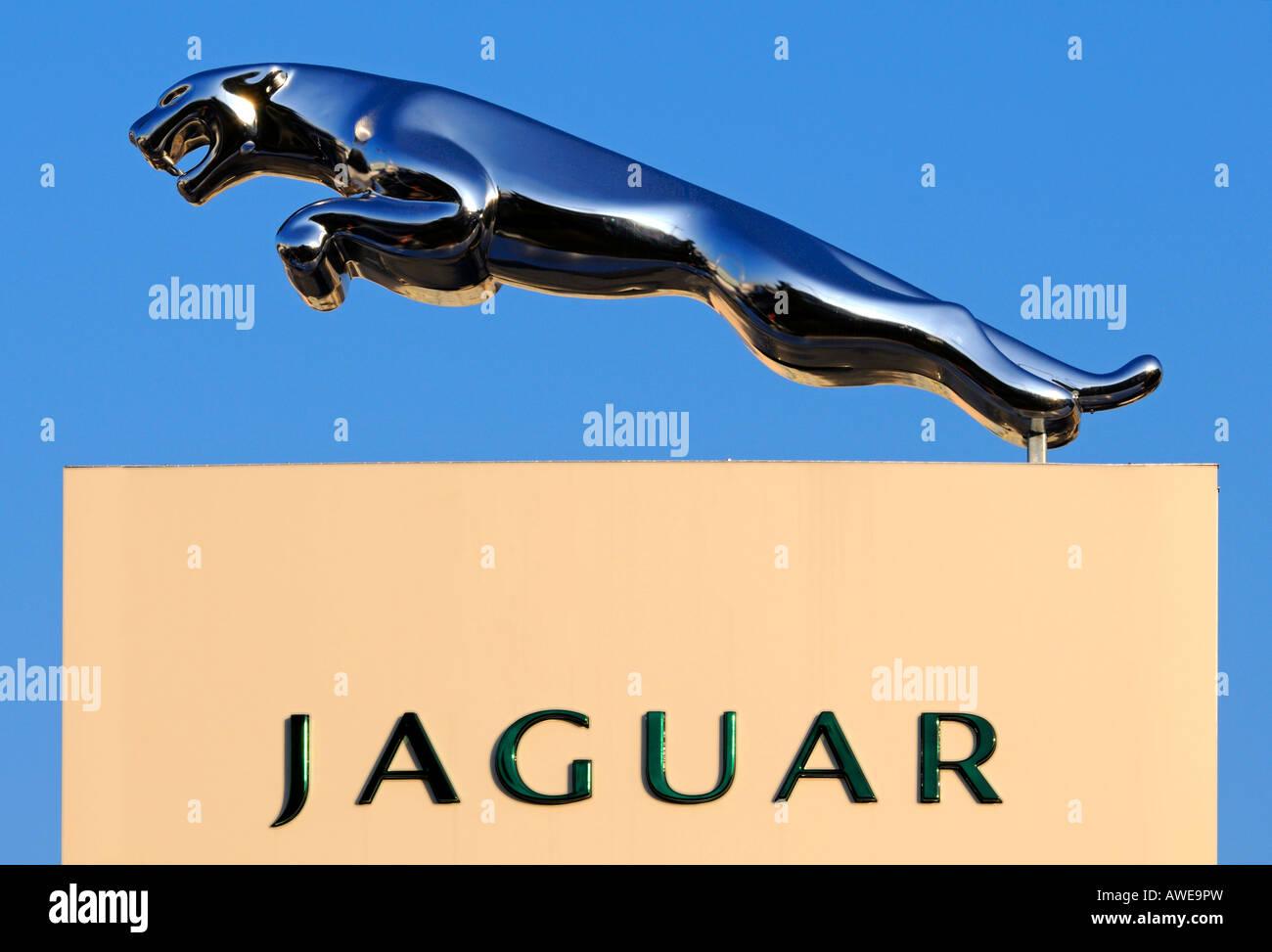Springenden Raubkatze, Markenzeichen des Automobilherstellers Jaguar Stockbild