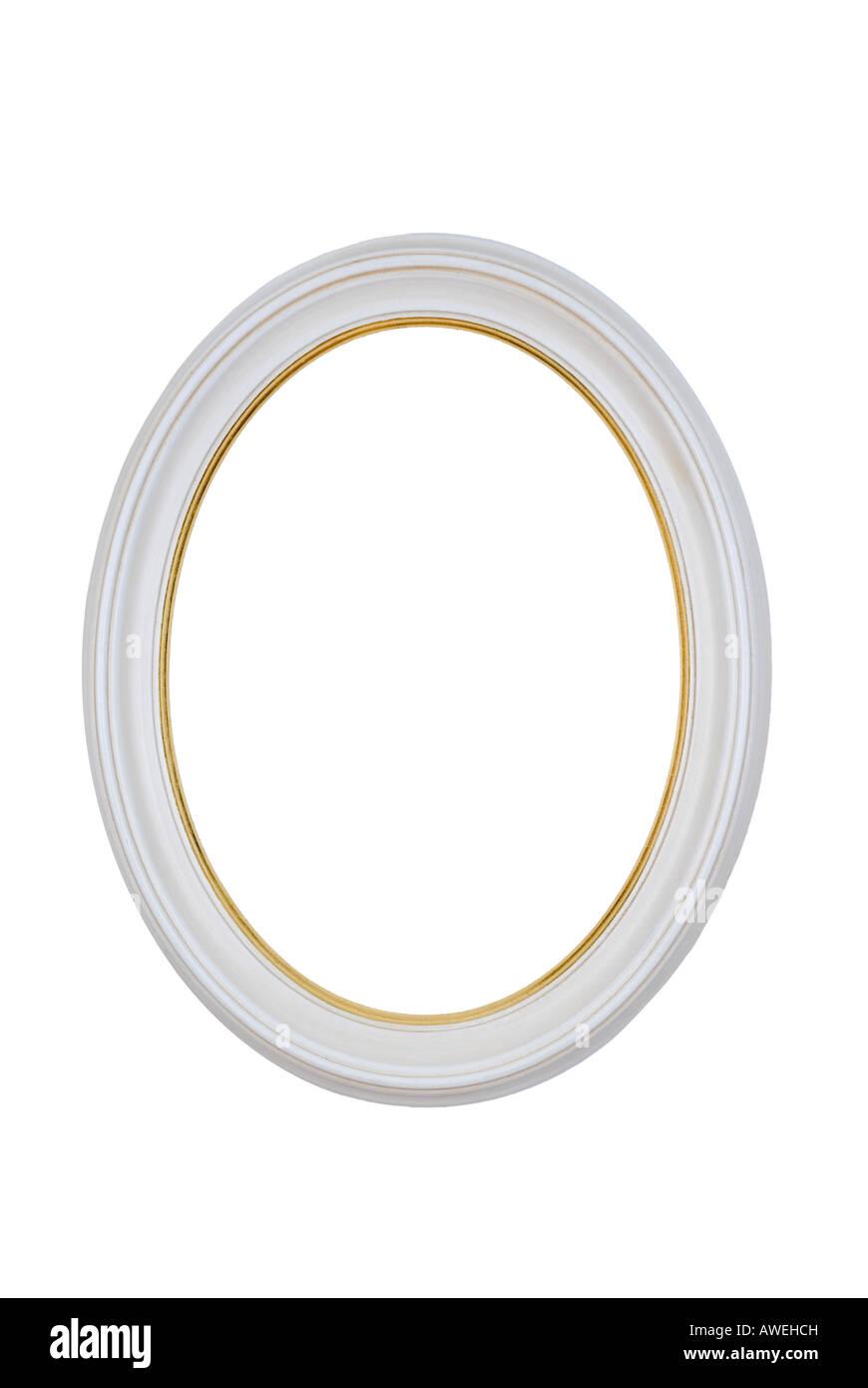 Bild Rahmen Oval Runde weiß, isoliert auf weiß Stockfoto, Bild ...