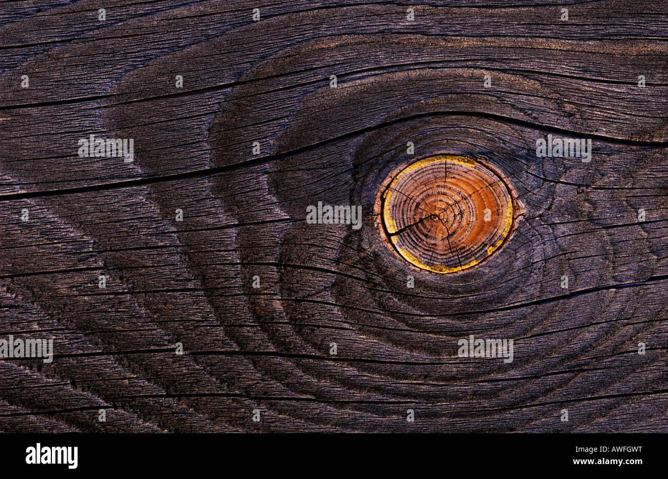 Alten Holzbrett mit Astloch Stockbild