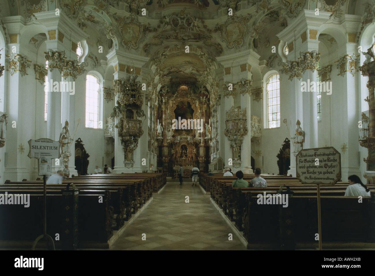 Deutschland, Oberbayern (Süd), Wies Wieskirche, Rokoko Interieur des ...