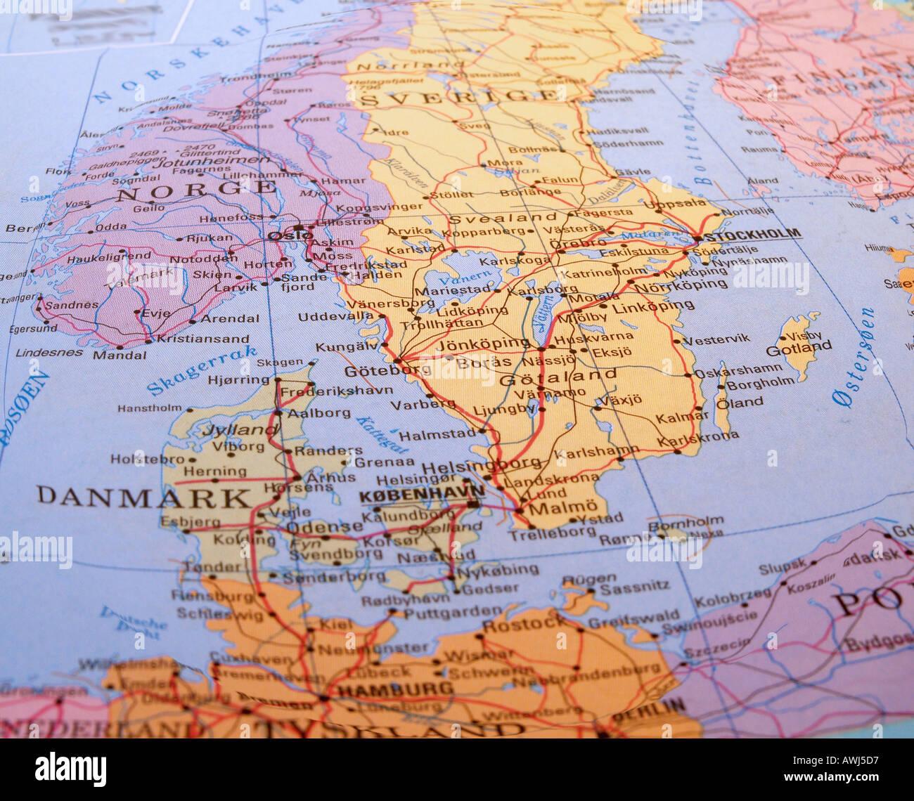 Dänemark Karte Skandinavien Stockfoto Bild 3073494 Alamy