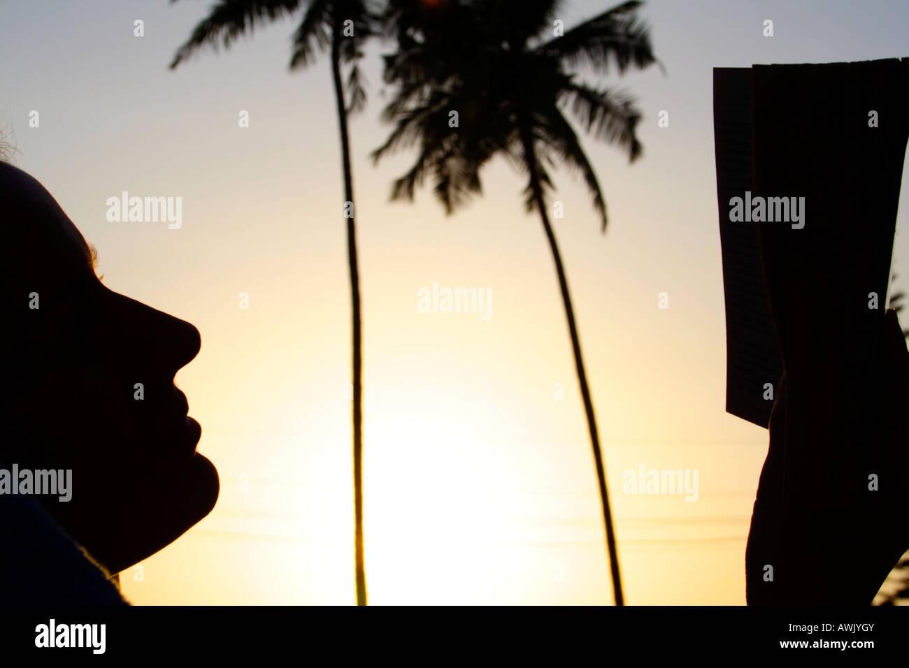 Silhouette einer Frau, die ein Buch in den Urlaub Stockbild
