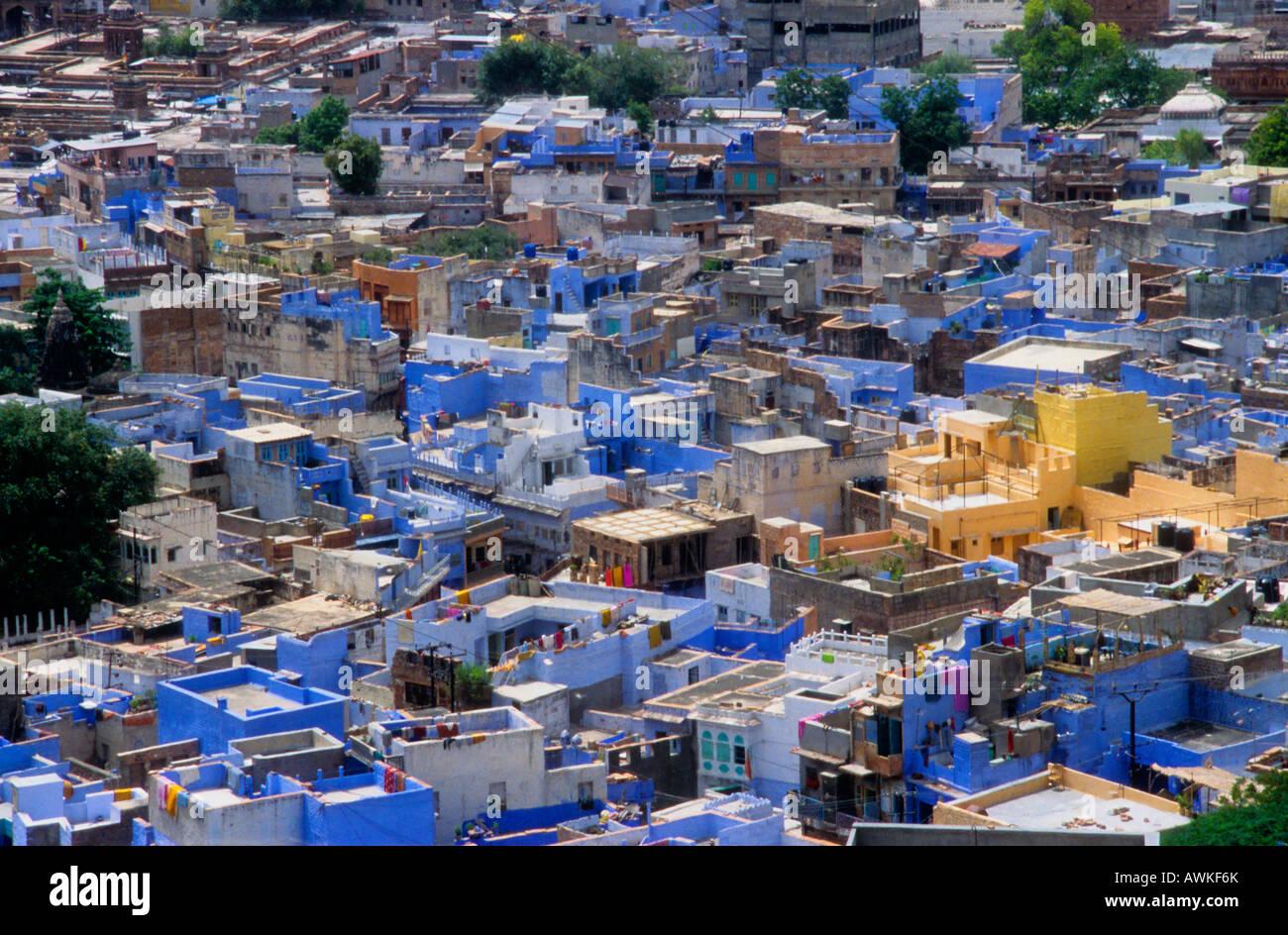 Blaue Häuser blaue häuser jodhpur gesehen vom mehrangarh fort in rajasthan