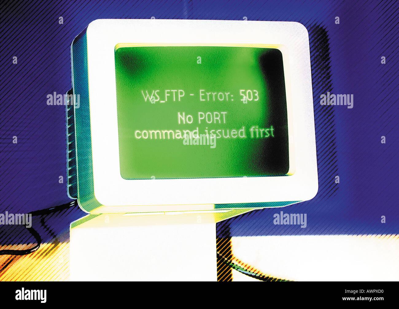 Computer, Fehlermeldung auf dem Bildschirm, digital Composite. Stockbild
