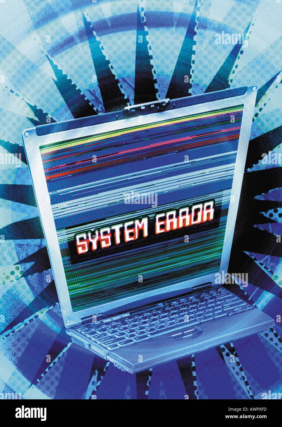 """Laptop im Cyberspace, """"Systemfehler"""" Meldung auf dem Bildschirm, digital Composite. Stockbild"""