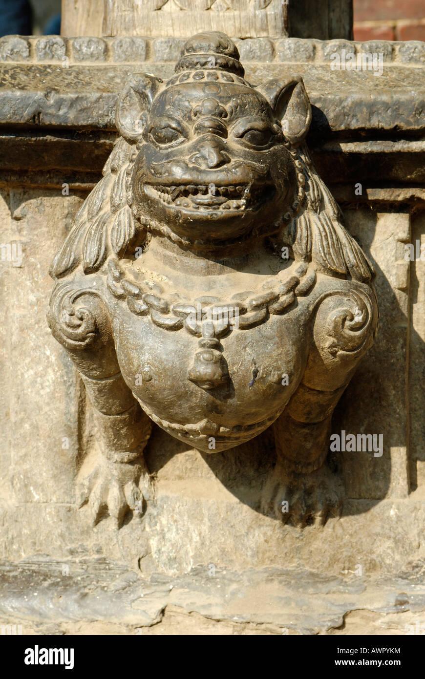 Hinduistische Steinskulptur, Durbar Square von Patan, Lalitpur, Kathmandu, Nepal Stockbild
