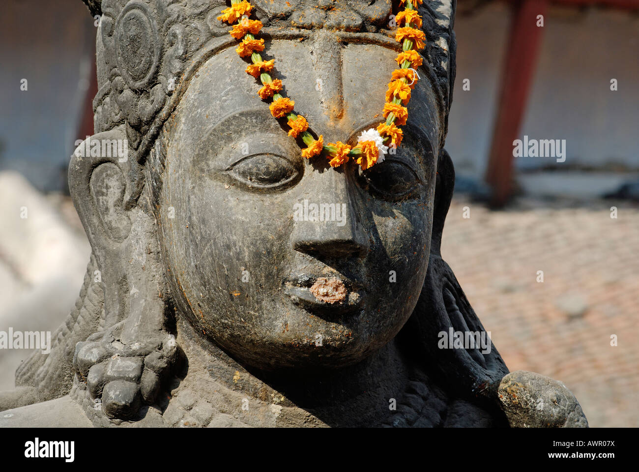 Hinduistische Statue, Durbar Square Tempel, Kathmandu, Nepal Stockbild